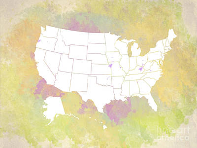 United States Map - White And Watercolor Art Print by Paulette B Wright