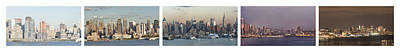 Pentaptych Photograph - United States - New York - Manhattan Panorama From New Jersey - Time Lapse In A Frame by Harri Jahkola