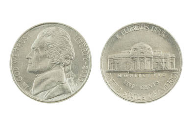 Photograph - United States Nickel On White Background by Keith Webber Jr