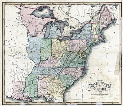 Vintage Map Painting - United States Of America - 1818 by Pablo Romero