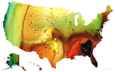 United States Of America Map 5 - Colorful Usa Art Print by Sharon Cummings