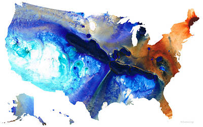 Painting - United States Of America Map 7 - Colorful Usa by Sharon Cummings