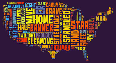 Star Spangled Banner Painting - United States Of America Map Star Spangled Banner Typography  by Florian Rodarte