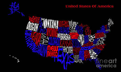 Digital Art - United States Of America Map by Wendy Wilton