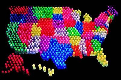 United States Of Lite Brite Art Print by Benjamin Yeager