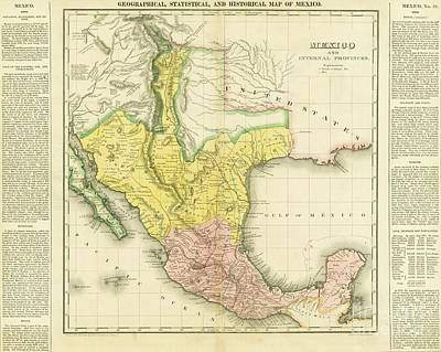 Drawing - United States Of Mexico - 1822 by Pg Reproductions
