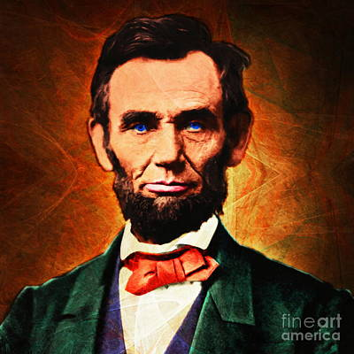 United States President Abraham Lincoln 20140914 Square Art Print by Wingsdomain Art and Photography