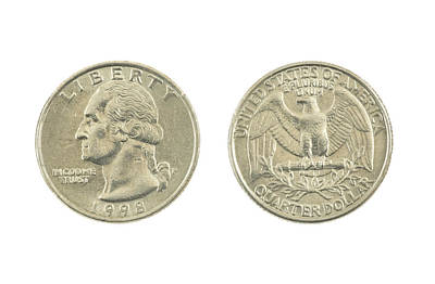 Photograph - United States Quarter On White Background by Keith Webber Jr