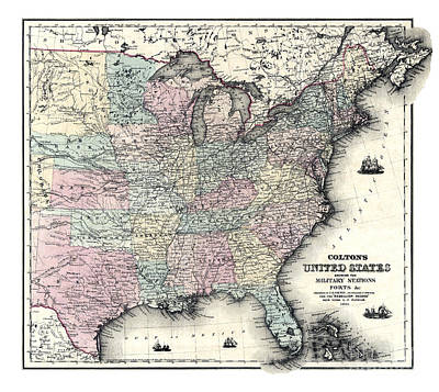 Old Map Painting - United States Shewing The Military Stations And Forts-1861 by Pablo Romero