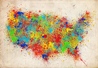 Painting - United States Splat Color Map  by Bekim Art