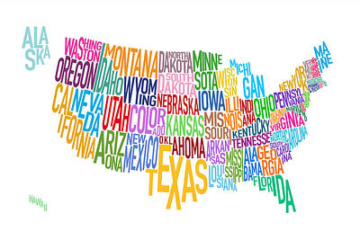 Cartography Wall Art - Digital Art - United States Text Map by Michael Tompsett