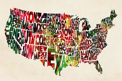 United States Watercolor Map Print by Ayse Deniz
