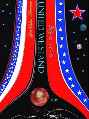 July 4 Mixed Media - United We Stand by Romuald  Henry Wasielewski