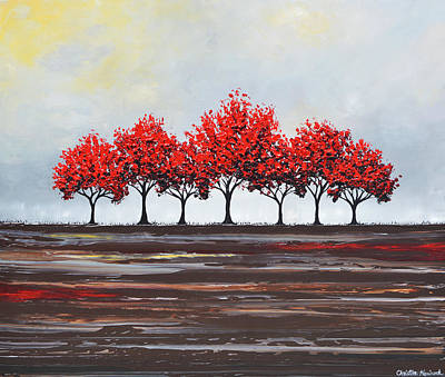 Unity - Red Trees Art Print by Christine Krainock