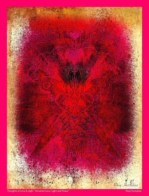 Digital Art - Universal Love Light Peace Pink Border by Roxy Hurtubise