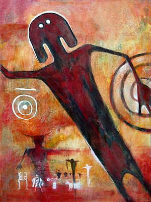 Petroglyph Painting - Universal Man Petroglyph by Derrick Higgins