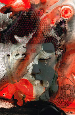 Universal Qi - Zen Black And Red Art Art Print