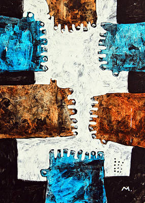 Outsider Art Painting - Universi No. 3 by Mark M  Mellon