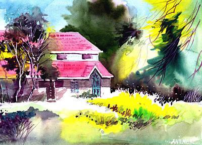 Beautiful Creek Drawing - University 2 by Anil Nene