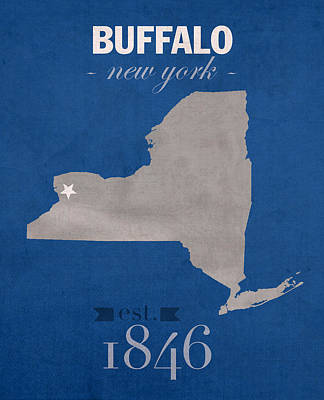 University At Buffalo New York Bulls College Town State Map Poster Series No 022 Art Print