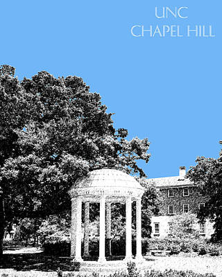 Pen Digital Art - University North Carolina Chapel Hill - Light Blue by DB Artist
