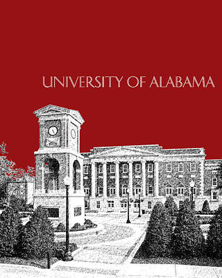 Tuscaloosa Digital Art - University Of Alabama #2 - Dark Red by DB Artist