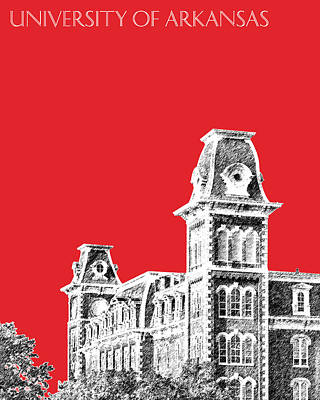 Towers Digital Art - University Of Arkansas - Red by DB Artist