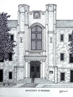 University Of Arkansas Drawing - University Of Arkansas by Frederic Kohli