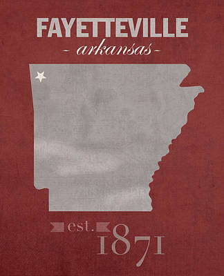 University Of Arkansas Wall Art - Mixed Media - University Of Arkansas Razorbacks Fayetteville College Town State Map Poster Series No 013 by Design Turnpike