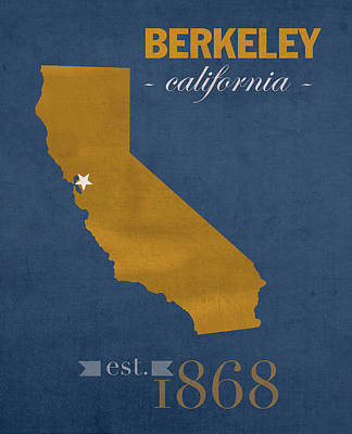 University Of California At Berkeley Golden Bears College Town State Map Poster Series No 024 Print by Design Turnpike