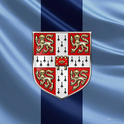 Digital Art - University Of Cambridge Seal - Coat Of Arms Over Colours by Serge Averbukh