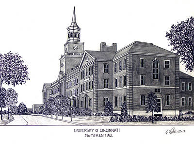 Drawing - University Of Cincinnati by Frederic Kohli