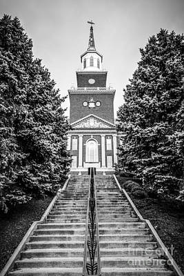 Steeple Photograph - University Of Cincinnati Mcmicken Hall Black And White Picture by Paul Velgos