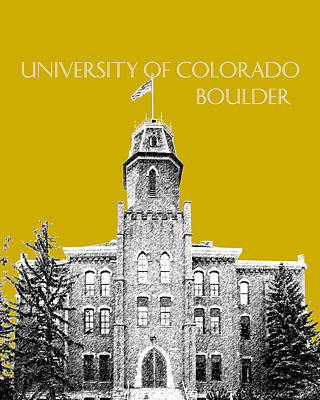 University Of Colorado Boulder - Gold Art Print
