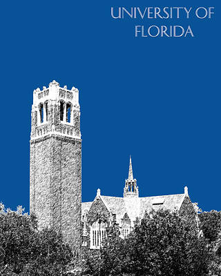 Towers Digital Art - University Of Florida - Royal Blue by DB Artist