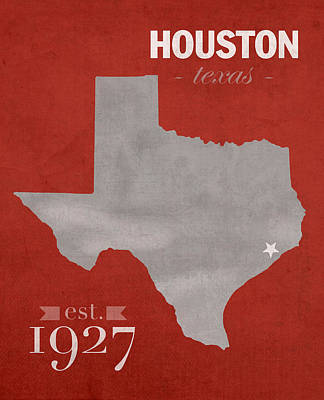 Cougar Wall Art - Mixed Media - University Of Houston Cougars Texas College Town State Map Poster Series No 045 by Design Turnpike