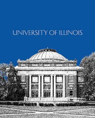 University Of Illinois Digital Art - University Of Illinois Foellinger Auditorium - Royal Blue by DB Artist
