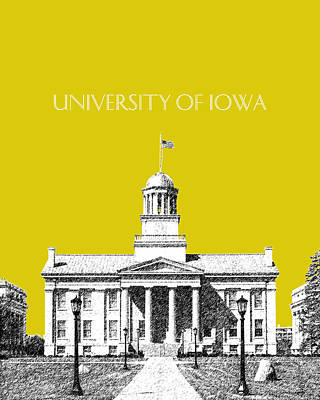 Old Buildings Digital Art - University Of Iowa - Mustard Yellow by DB Artist