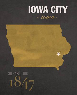 University Of Iowa Hawkeyes Iowa City College Town State Map Poster Series No 049 Art Print
