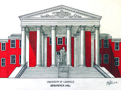 Drawing - University Of Louisville by Frederic Kohli