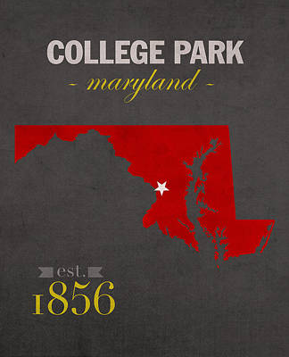 Harvard Mixed Media - University Of Maryland Terrapins College Park College Town State Map Poster Series No 061 by Design Turnpike
