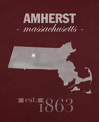 University Of Massachusetts Umass Minutemen Amherst College Town State Map Poster Series No 062 Art Print