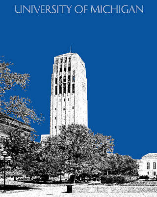 Pen Digital Art - University Of Michigan - Royal Blue by DB Artist