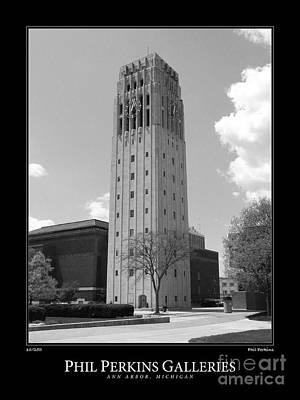 University Of Michigan Digital Art - University Of Michigan Clock Tower 1 by Phil Perkins