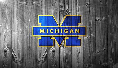 White Barn Digital Art - University Of Michigan by Dan Sproul