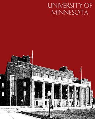Tower Digital Art - University Of Minnesota - Coffman Union - Dark Red by DB Artist