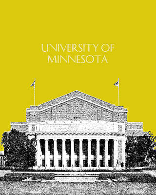 Pen Digital Art - University Of Minnesota 2 - Northrop Auditorium - Mustard Yellow by DB Artist