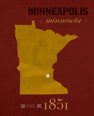 University Of Minnesota Golden Gophers Minneapolis College Town State Map Poster Series No 066 Art Print
