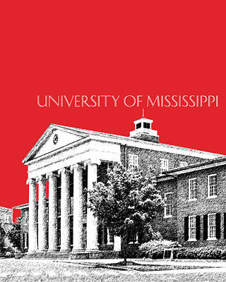 Architecture Digital Art - University Of Mississippi - Red by DB Artist