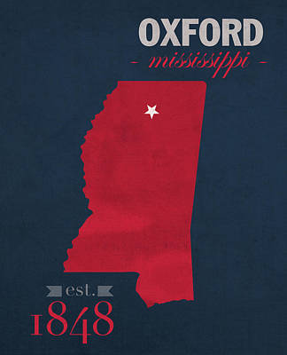 Clemson Mixed Media - University Of Mississippi Ole Miss Rebels Oxford College Town State Map Poster Series No 067 by Design Turnpike